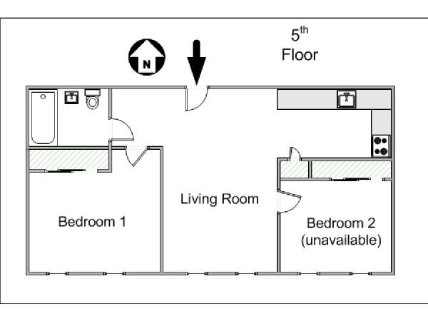 New York 2 Bedroom roommate share apartment - apartment layout  (NY-15315)