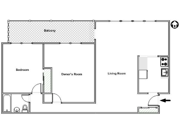 New York 2 Bedroom roommate share apartment - apartment layout  (NY-15324)