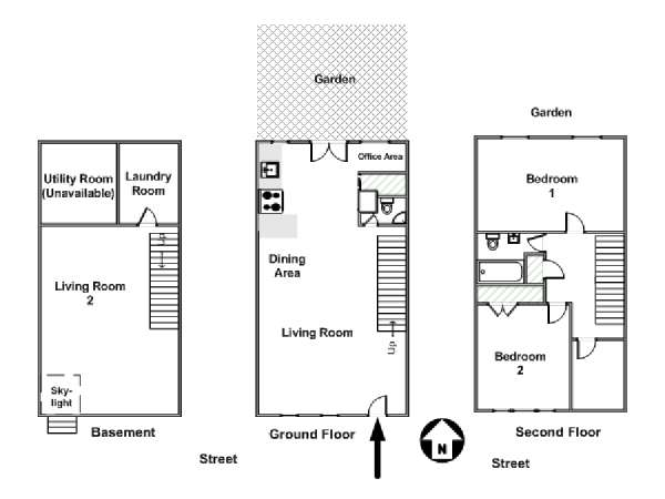 New York 2 Bedroom - Duplex apartment - apartment layout  (NY-15355)
