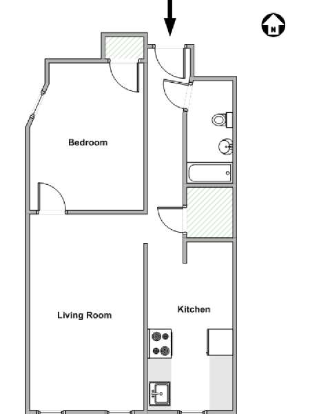 New York 1 Bedroom apartment - apartment layout  (NY-15393)