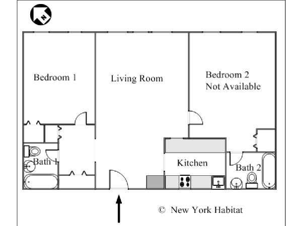 New York 2 Bedroom roommate share apartment - apartment layout  (NY-15394)