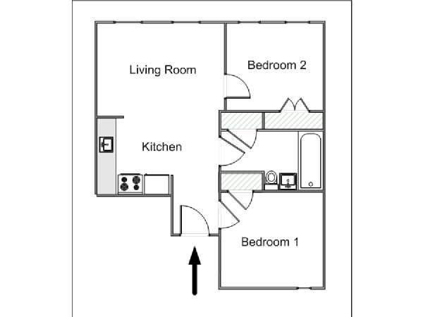 New York 2 Bedroom apartment - apartment layout  (NY-15418)