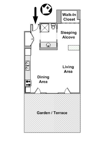 New York Alcove Studio apartment - apartment layout  (NY-15441)