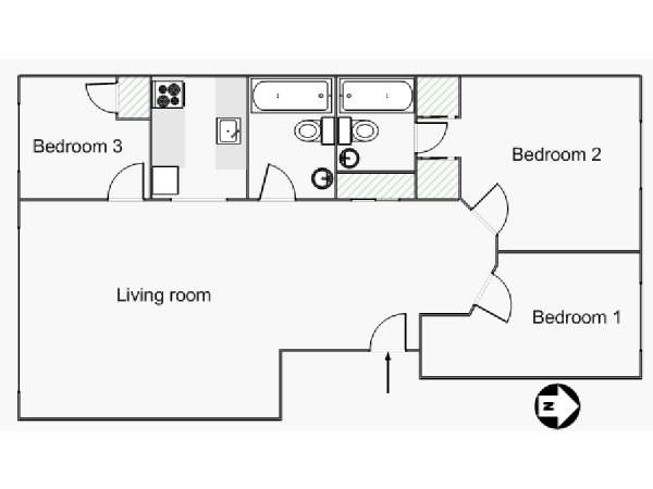 New York 3 Bedroom roommate share apartment - apartment layout  (NY-15445)