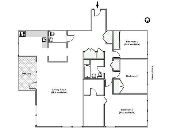 New York T4 appartement colocation - plan schématique  (NY-15453)