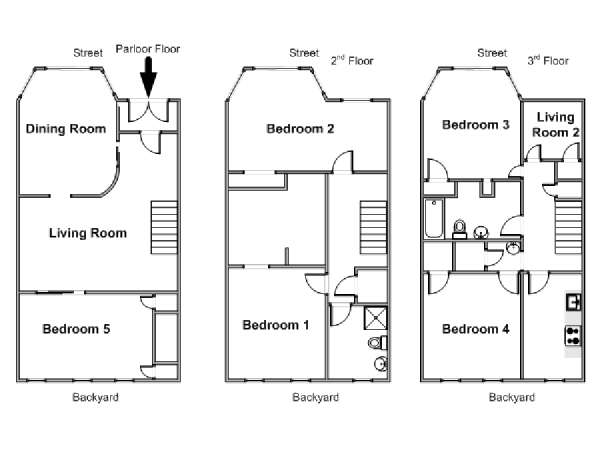 New York 5 Bedroom - Triplex accommodation - apartment layout  (NY-15504)