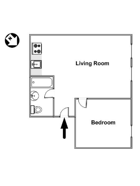 New York 1 Bedroom apartment - apartment layout  (NY-15511)