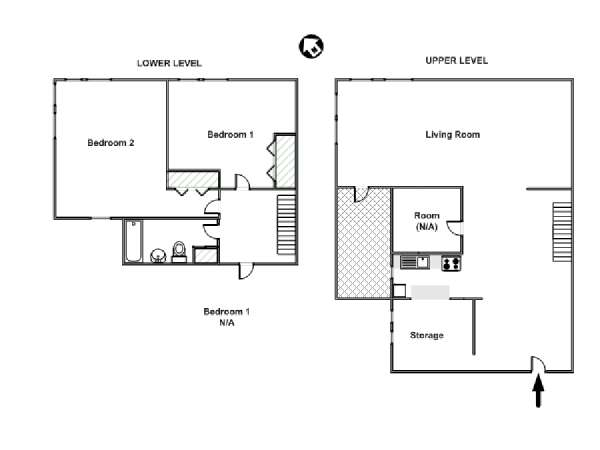 New York T4 - Duplex appartement colocation - plan schématique  (NY-15527)