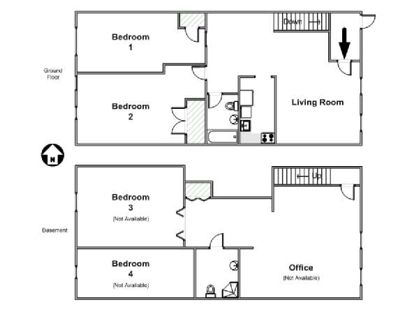 New York T5 - Duplex appartement colocation - plan schématique  (NY-15530)