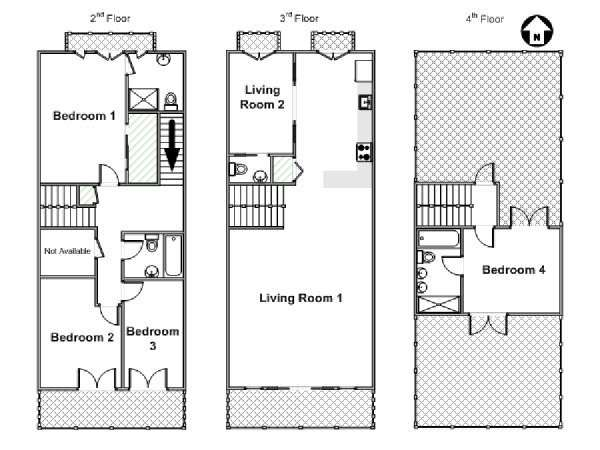 New York 4 Bedroom - Triplex accommodation - apartment layout  (NY-15537)