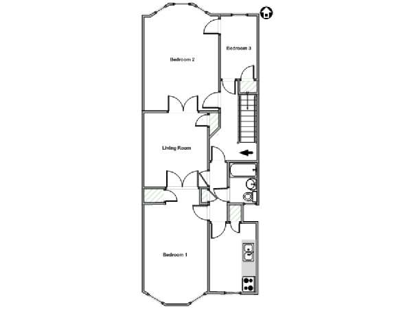 New York 3 Bedroom accommodation - apartment layout  (NY-15555)