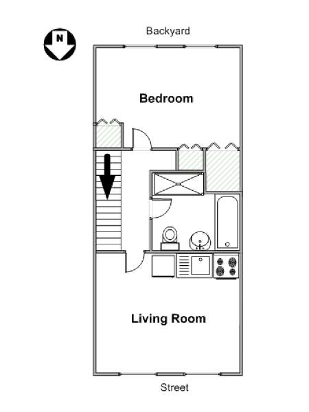 New York 1 Bedroom apartment - apartment layout  (NY-15581)