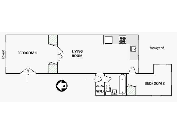 New York T3 logement location appartement - plan schématique  (NY-15592)