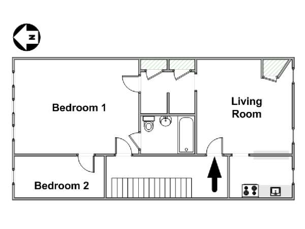 New York 2 Bedroom apartment - apartment layout  (NY-15678)