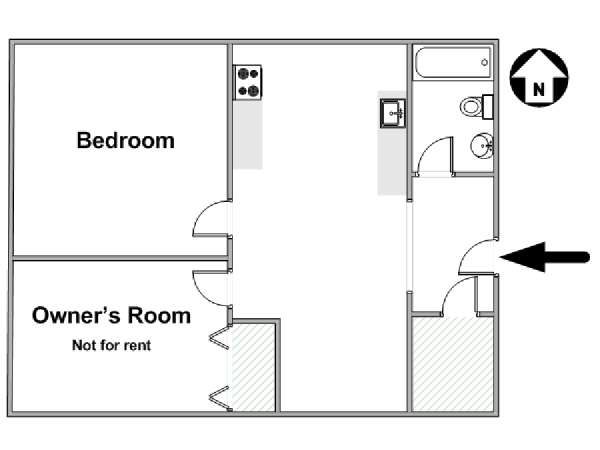 New York 2 Bedroom roommate share apartment - apartment layout  (NY-15722)