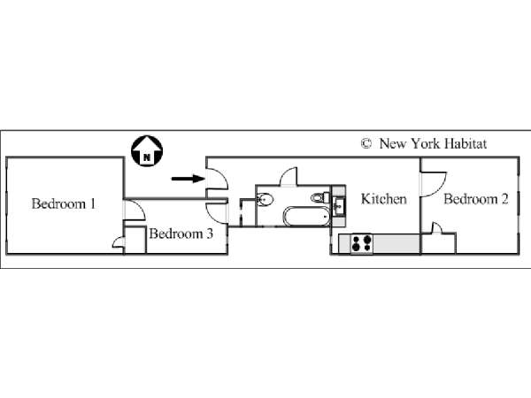 New York 3 Bedroom apartment - apartment layout  (NY-15729)