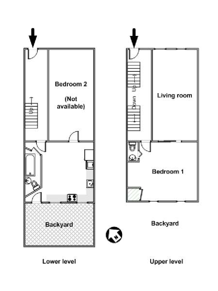 New York 2 Bedroom - Duplex roommate share apartment - apartment layout  (NY-15783)