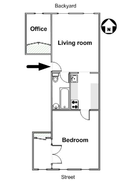 New York 1 Bedroom apartment - apartment layout  (NY-15788)