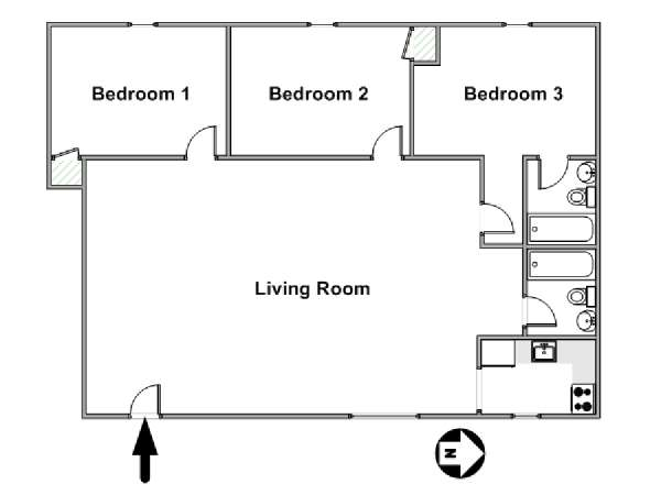 New York 3 Bedroom roommate share apartment - apartment layout  (NY-15802)