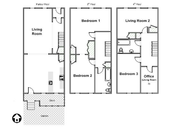 New York 3 Bedroom - Triplex accommodation - apartment layout  (NY-15804)