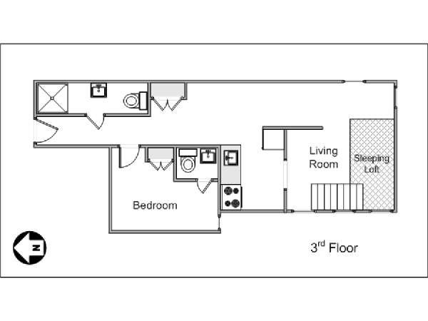 New York 1 Bedroom apartment - apartment layout  (NY-1581)