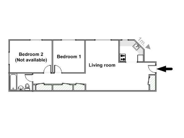 New York 2 Bedroom roommate share apartment - apartment layout  (NY-15820)