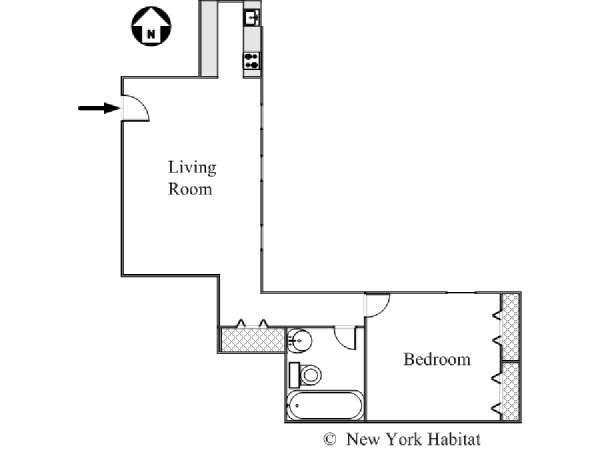 New York 1 Bedroom apartment - apartment layout  (NY-15828)