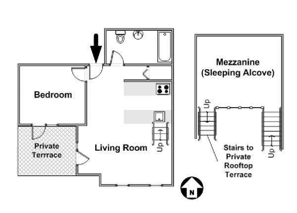 New York T2 - Loft logement location appartement - plan schématique  (NY-15868)