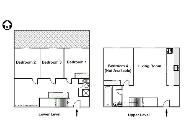 New York 4 Bedroom - Duplex roommate share apartment - apartment layout  (NY-15872)