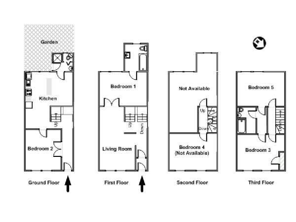 New York T6 appartement colocation - plan schématique  (NY-15886)