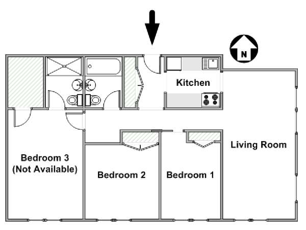 New York 3 Bedroom roommate share apartment - apartment layout  (NY-15891)