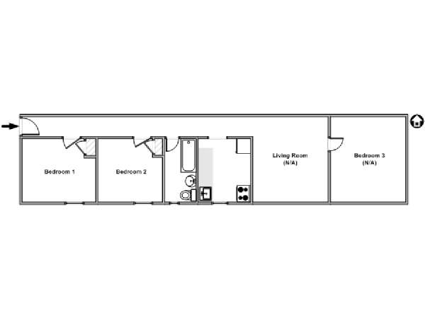 New York 3 Bedroom roommate share apartment - apartment layout  (NY-15979)
