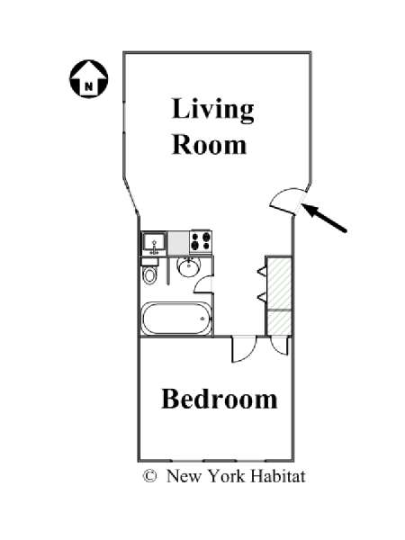 New York T2 logement location appartement - plan schématique  (NY-15985)
