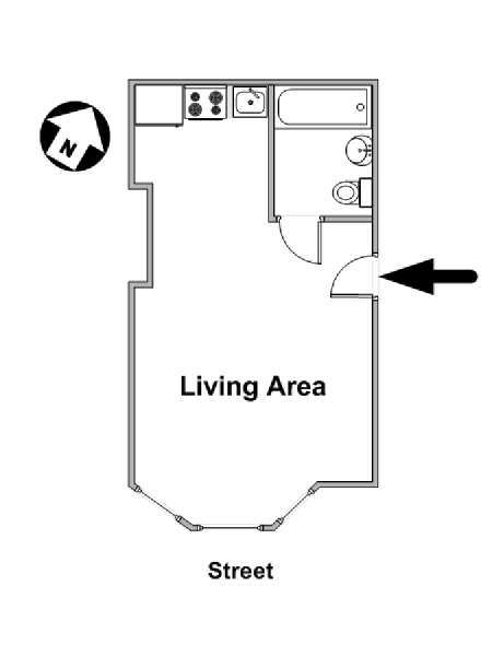 New York Studio apartment - apartment layout  (NY-15991)
