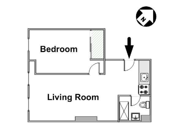 New York 1 Bedroom roommate share apartment - apartment layout  (NY-15997)