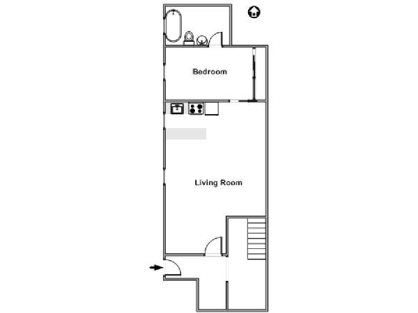 New York 1 Bedroom accommodation - apartment layout  (NY-16055)
