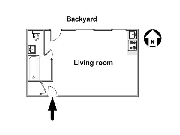 New York Studio T1 logement location appartement - plan schématique  (NY-16084)