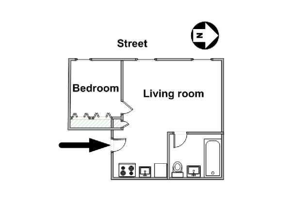 New York 1 Bedroom apartment - apartment layout  (NY-16085)