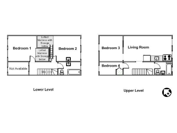 New York 5 Bedroom - Duplex roommate share apartment - apartment layout  (NY-16089)