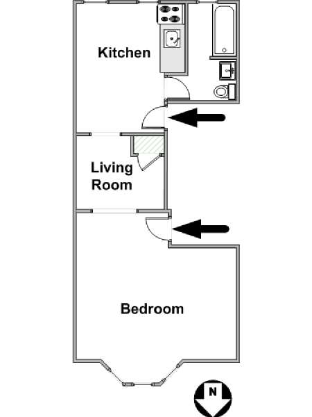 New York 1 Bedroom apartment - apartment layout  (NY-16122)
