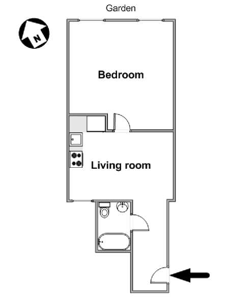 New York 1 Bedroom apartment - apartment layout  (NY-16210)