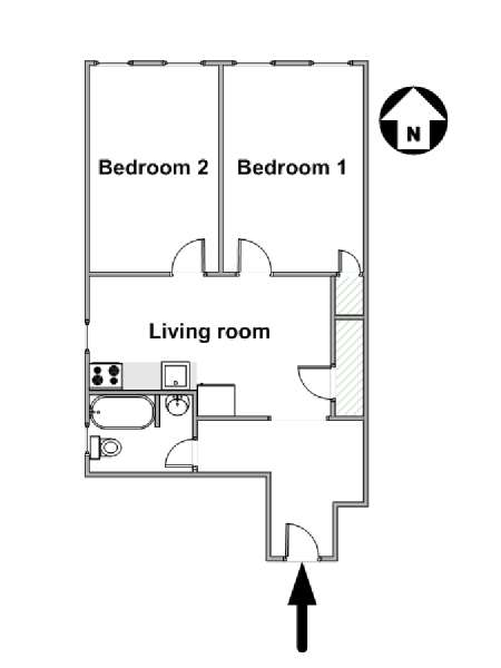 New York 2 Bedroom roommate share apartment - apartment layout  (NY-16223)