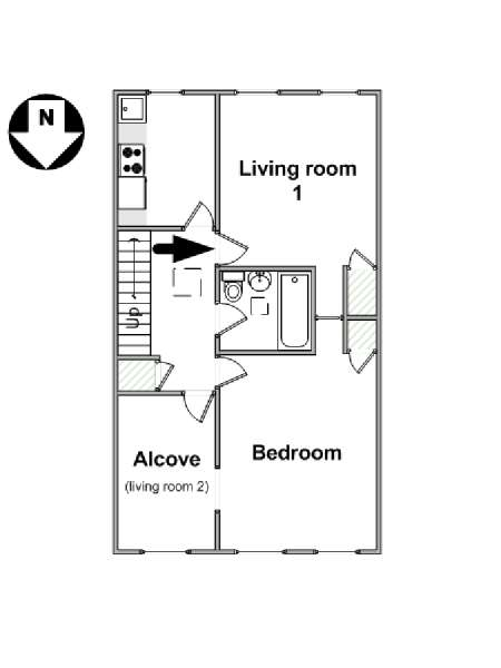 New York 1 Bedroom accommodation - apartment layout  (NY-16260)