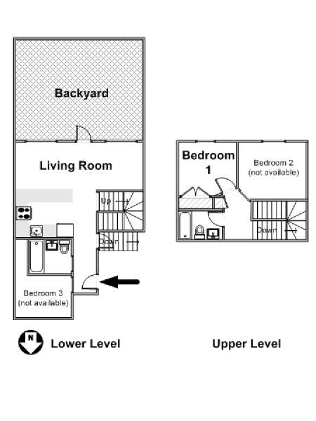 New York 3 Bedroom - Duplex roommate share apartment - apartment layout  (NY-16271)