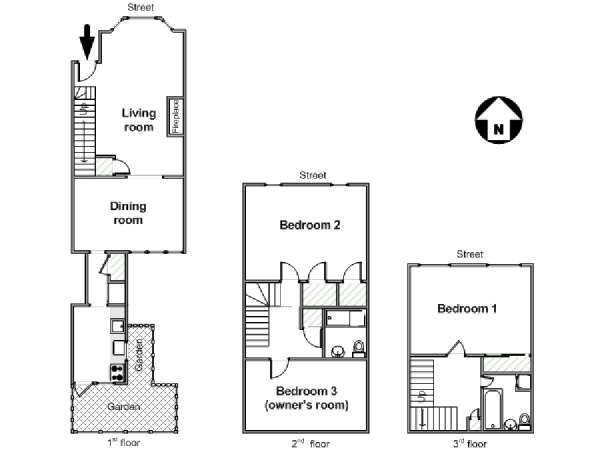 New York 3 Bedroom roommate share apartment - apartment layout  (NY-16285)