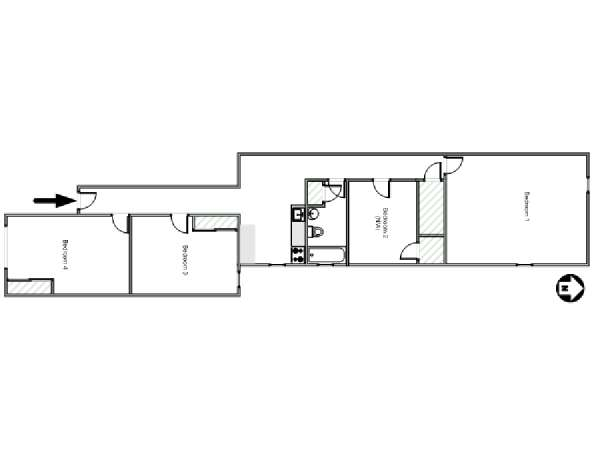 New York 4 Bedroom roommate share apartment - apartment layout  (NY-16354)