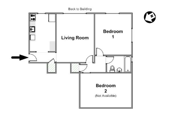 New York 2 Bedroom roommate share apartment - apartment layout  (NY-16419)
