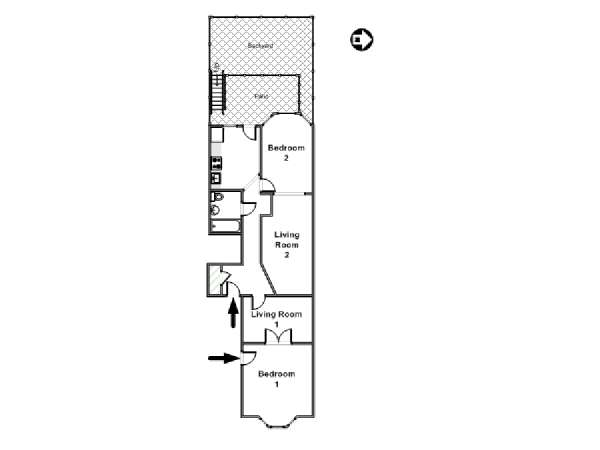 New York 2 Bedroom accommodation - apartment layout  (NY-16434)