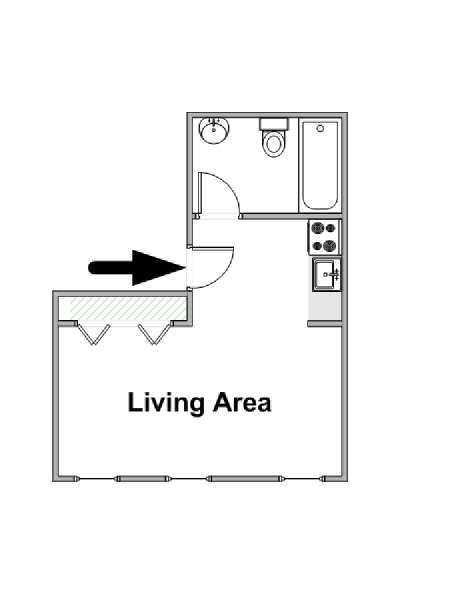 New York Studio T1 logement location appartement - plan schématique  (NY-16447)