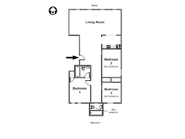 New York 3 Bedroom roommate share apartment - apartment layout  (NY-16453)